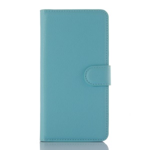 Litchi Grain Wallet Leather Card Holder Case for Xiaomi Redmi Note 3 - Blue