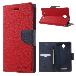 MERCURY Goospery Wallet Leather Cover for Xiaomi Redmi Note 2 - Red