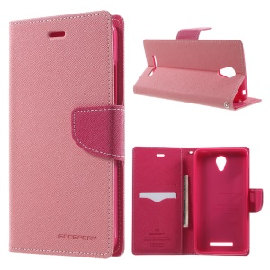 MERCURY Goospery Wallet Leather Phone Case for Xiaomi Redmi Note 2 - Pink