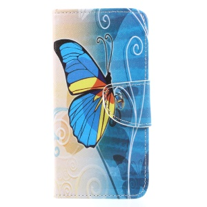 Patterned Leather Wallet Case with Stand for Xiaomi Redmi 4X - Blue Butterfly