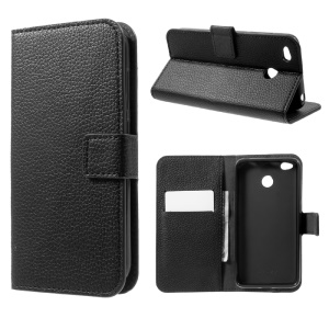 Litchi Texture Stand Leather Wallet Phone Shell for Xiaomi Redmi 4X - Black