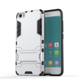 Hybrid PC and TPU Case for Xiaomi Mi 5 with Kickstand - Silver