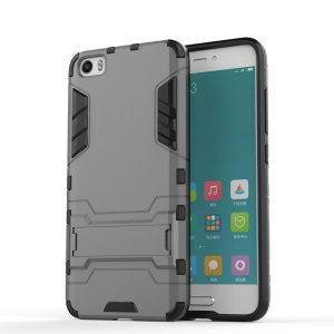 Hybrid PC and TPU Cover for Xiaomi Mi 5 with Kickstand - Grey