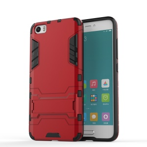 Hybrid PC and TPU Phone Case for Xiaomi Mi 5 with Kickstand - Red
