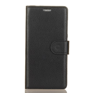 Litchi Skin PU Leather Wallet Stand Protective Phone Cover for Xiaomi Mi A1 / 5X - Black