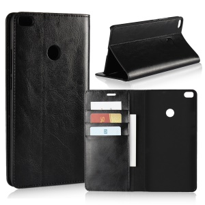 Crazy Horse Genuine Leather Magnetic Wallet Case for Xiaomi Mi Max 2 - Black