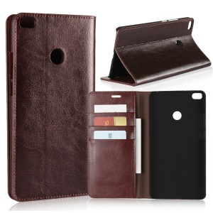 Crazy Horse Genuine Leather Magnetic Wallet Shell for Xiaomi Mi Max 2 - Coffee