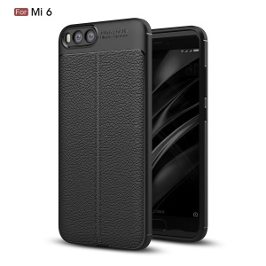 Litchi Skin PU Leather Coated TPU Phone Shell for Xiaomi Mi 6 - Black