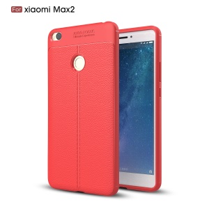 Litchi Grain Anti-fingerprint PU Leather Coated TPU Phone Shell for Xiaomi Mi Max 2 - Red