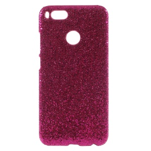 PU Leather Coated PC Hard Shell for Xiaomi Mi A1 - Glittery Sequins / Rose