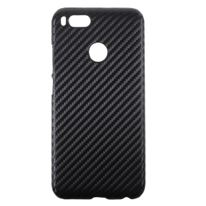 PU Leather Coated PC Back Cover Protector for Xiaomi Mi A1 - Carbon Fiber Texture / Black