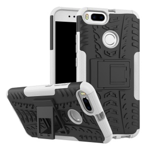 Tyre Pattern PC + TPU Hybrid Cover with Kickstand for Xiaomi Mi A1 / 5X - White