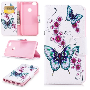 Pattern Printing PU Leather Card Holder Mobile Phone Cover for Xiaomi Redmi Note 5A Prime / Redmi Y1 - Green Butterfly and Flower Pattern