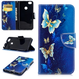 Pattern Printing PU Leather Flip Stand Mobile Shell for Xiaomi Redmi Note 5A Prime / Redmi Y1 - Blue Butterflies