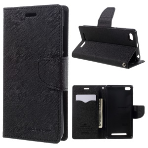 MERCURY GOOSPERY Leather Wallet Case for Xiaomi Redmi 3 - Black