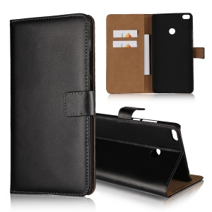 For Xiaomi Mi Max 2 Split Leather Stand Wallet Phone Case - Black