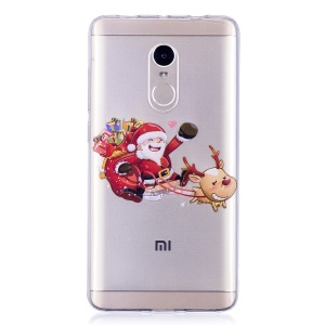 Christmas Pattern Printing TPU Shell for Xiaomi Redmi Note 4X/Note 4 (Snapdragon) - Cartoon Santa and Reindeer