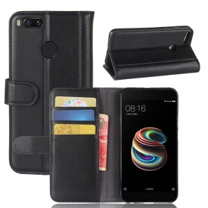 Genuine Leather Wallet Stand Case for Xiaomi Mi A1 / 5X / 5c - Black