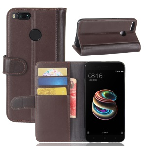 Genuine Leather Wallet Stand Cover for Xiaomi Mi A1 / 5X / 5c - Brown