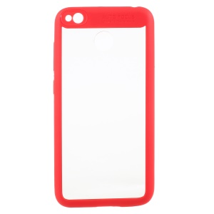 Silicone Frame + Transparent Acrylic Back Hybrid Mobile Shell for Xiaomi Redmi 4X - Red