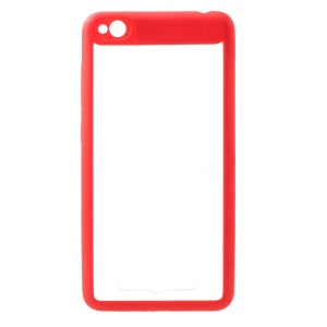 Silicone Frame + Transparent Acrylic Back Hybrid Mobile Casing for Xiaomi Redmi 4a - Red