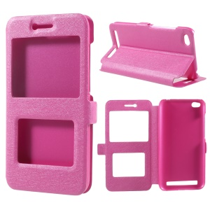Silk Texture Dual View Window Leather Cover for Xiaomi Redmi 5A - Rose