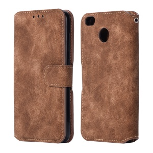 Vintage Style Matte Leather Skin Wallet Mobile Casing with Stand for Xiaomi Redmi 4X - Brown