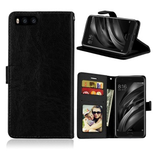 Crazy Horse Wallet Leather Stand Case for Xiaomi Mi 6 - Black