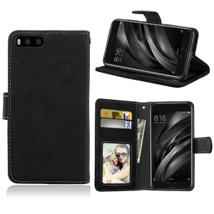 Matte PU Leather Wallet Stand Mobile Case for Xiaomi Mi 6 - Black