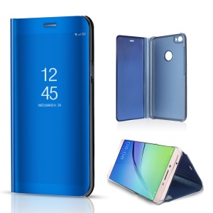 For Xiaomi Redmi Note 5A Prime / Redmi Y1 (India) Plated Mirror Surface View Leather Protective Case Shell - Blue