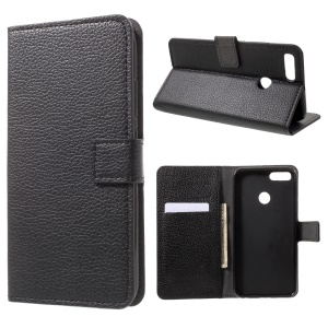 Lychee Skin Wallet Leather Stand Cover for Xiaomi Mi A1 / 5X - Black
