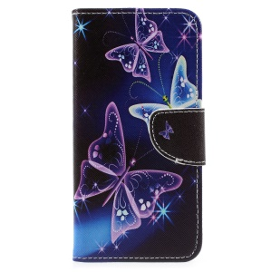 Patterned Cross Texture Leather Wallet Stand Folio Case for Xiaomi Mi A1 / 5X - Purple Butterfly