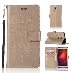 Imprinted Dream Catcher Owl Wallet Leather Stand Case for Xiaomi Redmi Note 4X / Note 4 - Gold