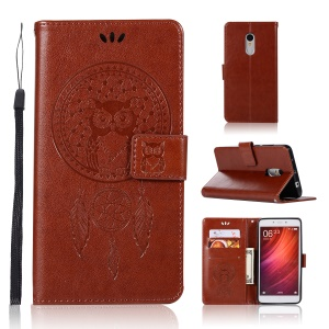 Imprinted Dream Catcher Owl Leather Stand Cover with Card Slots for Xiaomi Redmi Note 4X / Note 4 - Brown