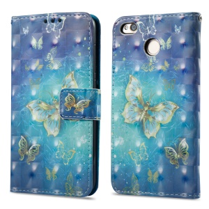 For Xiaomi Redmi 4X Pattern Printing PU Leather Protective Case- Gold Butterfly
