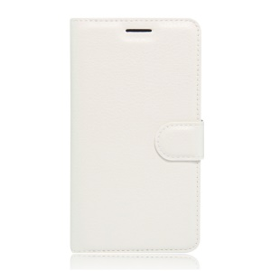 Litchi Skin Wallet Stand Leather Cover for Xiaomi Mi 4S - White