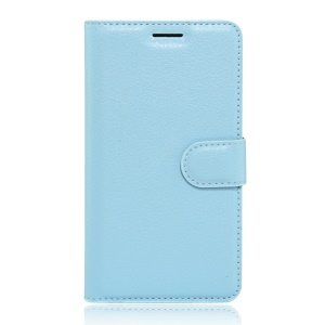 Litchi Skin Wallet Stand Leather Shell Case for Xiaomi Mi 4S - Blue