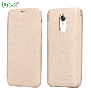 LENUO Ledream Series Thin Flip Leather Shell with Card Holder for Xiaomi Redmi Note 5 (12MP Rear Camera) / Redmi 5 Plus (China) - Gold
