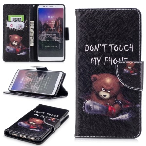 Pattern Printing PU Leather Magnetic Wallet Stand Protective Case for Xiaomi Redmi 5 - Bear with Saw