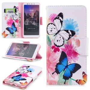 Pattern Printing PU Leather Magnetic Wallet Stand Protective Casing for Xiaomi Redmi 5 - Butterfly and Flower