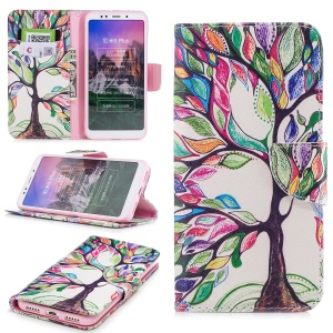 Pattern Printing PU Leather Magnetic Wallet Stand Cover for Xiaomi Redmi Note 5 (12MP Rear Camera) / Redmi 5 Plus (China) - Tree with Colorful Leaves