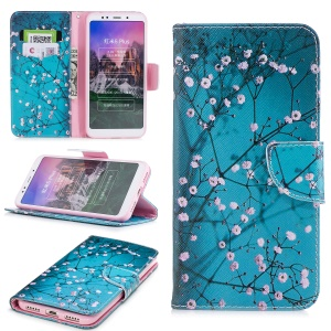 For Xiaomi Redmi Note 5 (12MP Rear Camera) / Redmi 5 Plus (China) Patterned Leather Magnetic Wallet Stand Case Cover - Wintersweet