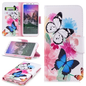 Pattern Printing PU Leather Magnetic Wallet Stand Protection Case for Xiaomi Redmi Note 5 (12MP Rear Camera) / Redmi 5 Plus (China) - Butterfly and Flower