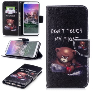 For Xiaomi Redmi Note 5 (12MP Rear Camera) / Redmi 5 Plus (China) Pattern Printing Leather Wallet Folio Cover with Stand - Bear with Saw