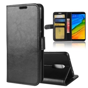 Crazy Horse Stand Wallet Leather Case for Xiaomi Redmi 5 - Black