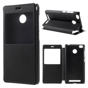 View Window Leather Flip Case for Xiaomi Redmi 3 Pro - Black