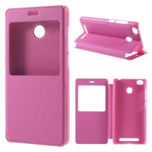 View Window Leather Stand Cover for Xiaomi Redmi 3 Pro - Rose