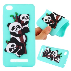 Cute 3D Pandas and Bamboo TPU Phone Accessory Case for Xiaomi Redmi 4a - Cyan