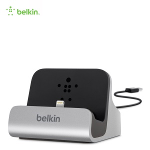 BELKIN Original MFI Lightning 8pin Charge + Sync Dock Station with 4-Foot Charging Cable (F8J045bt) - Silver Color