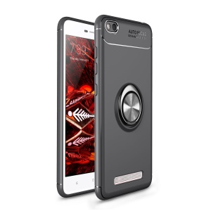 Magnetic Finger Ring Kickstand TPU Mobile Phone Case Shell for Xiaomi Redmi 4a - Black / Grey